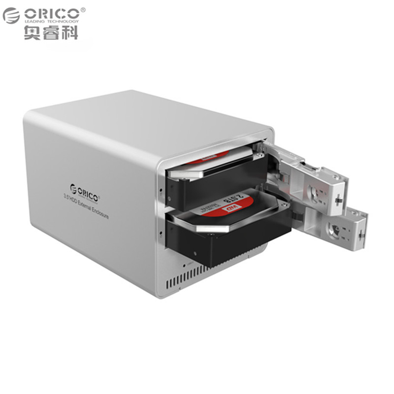 ORICO 9528U3 Silver 2bay sata hdd docking station with USB3.0 hot plug disk drive enclosure for PC laptop orico 9528u3 2 bay usb3 0 sata hdd hard drive disk enclosure 5gbps superspeed aluminum 3 5 case external box tool free storage