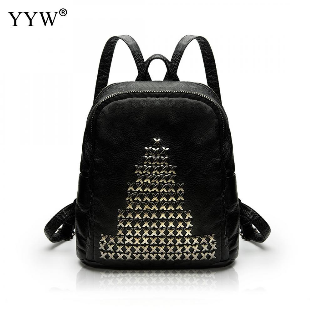 YYW New Design Women Pu Backpack Rivet Solid School Leather Shoulder Bag Travel Notebook Designer Mochila Female Travel Backbags