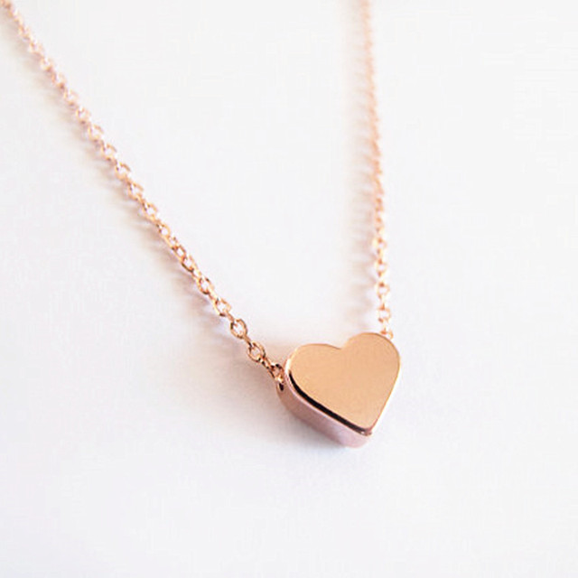 Stainless steel small chain tiny heart necklace chokers pendants clear audiocablefo
