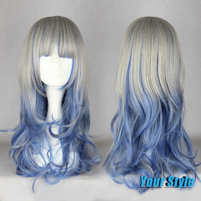 Japanese Harajuku Lolita Wig Natural Cheap Hair Wig Ombre Colored Wig Grey Blue Wig Hair Synthetic Japanese Fiber Peruca Cosplay