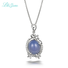 l&zuan 925new  sterling silver 4.02ct Purple Chalcedony South Korea Style Pendants Necklaces Jewelry For Woman with silver chain