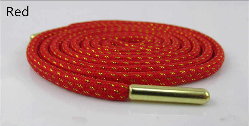 Hoge Kwaliteit Metal Head 100/120/140/160 cm Gouden Draad Ronde Schoenveters Zwart Wit Vrouwen Mannen kleurrijke Sport Casual Schoenen Veters