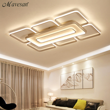 Современные квадратные потолочные светодиодные светильники, домашние лампы белого и кофейного цвета для гостиной, спальни, 110 260 В переменного тока