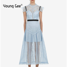 Young Gee Fashion Designer Runway Dresses Summer Women Blue Abstract Triangle Lace Midi Party Elegant Mid-Calf Dress robe femme