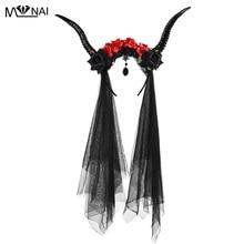 Halloween Cosplay Witch Horns Headwear Gothic Antler Flowers Headband Party Black Queen Veil Headpiece Lolita Hair Accessory