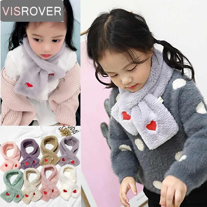 008ba070533 VISROVER Girls Boys Knitted Lic Scarf Baby Kids Snood Ring Infinity Faux  Fur Scarfs Loop Neck