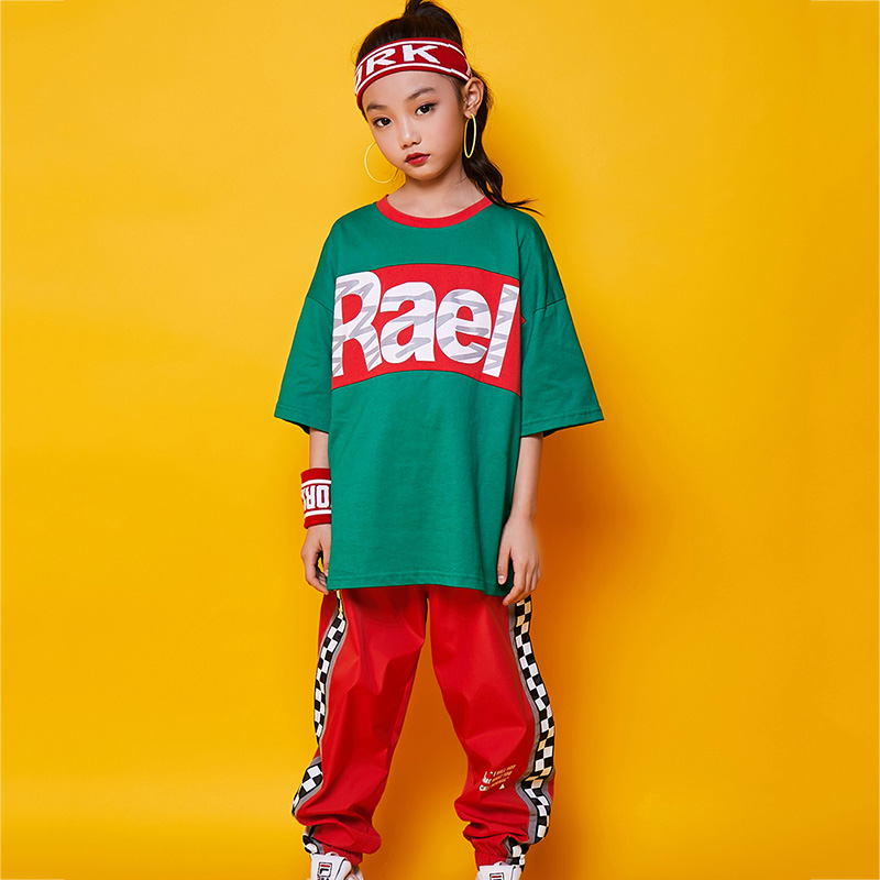 Jazz Dance Costume Boys Streetwear Dancing Trousers Clothing Girls Kids Streetdance Suit Hip Hop Costumes Stage Outfits DN3675