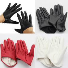 Faux Leather Male Female Five Finger Half Palm Gloves Mitten
