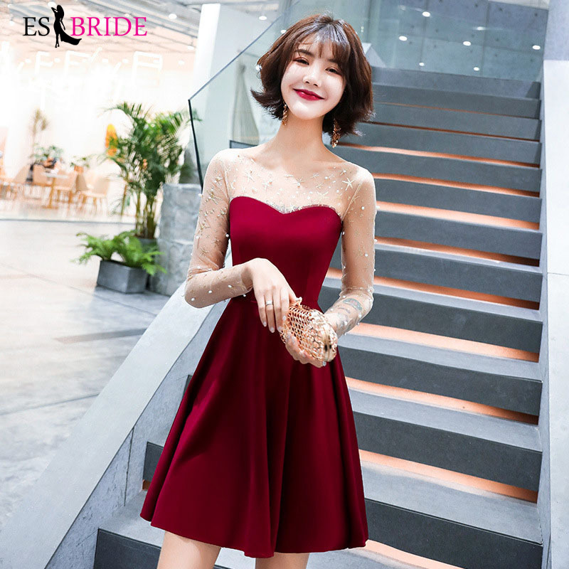 Office Red Evening Dresses Short Sexy Formal Dress Women Elegant Muslim Evening Dress Party Special Occasion Dresses ES2552