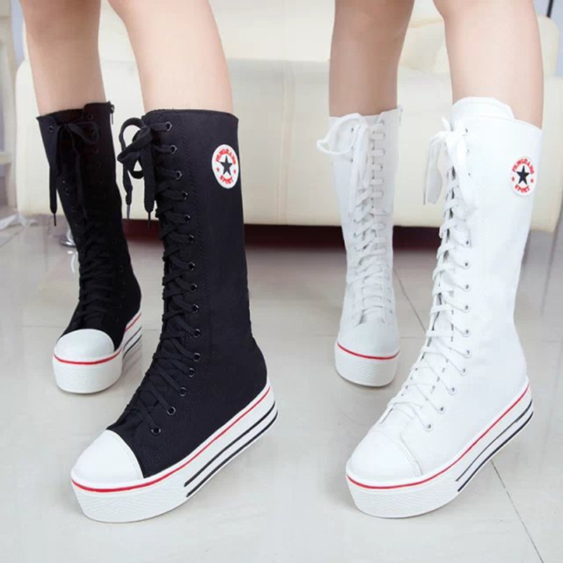 2016 New Fashion Women's Canvas Boots Lace Zip Knee High Boots Women Boots Flats Casual Tall Punk Shoes Girls thigh high boots