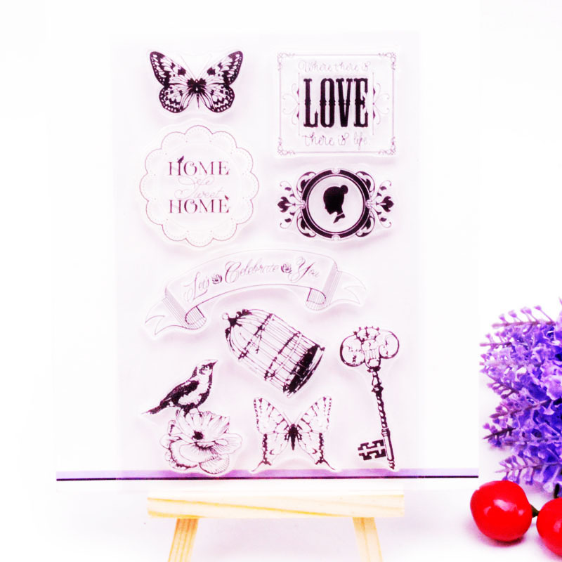 DECORA 1PCS Butterfly Bird Cage Design Silicone Transparent Clear Stamp DIY Scrapbooking Stamp Christmas Decoration Supplies