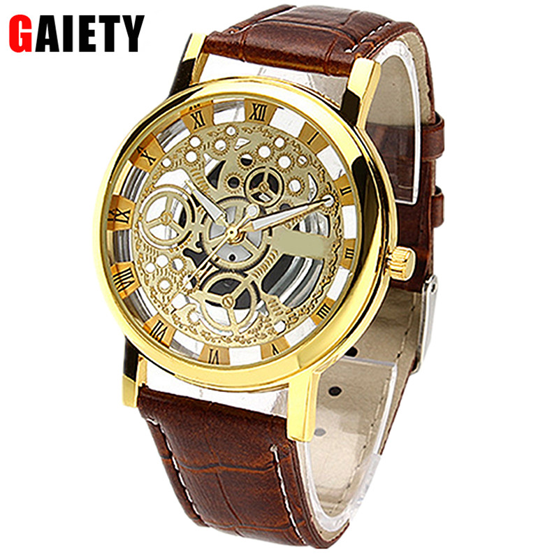 GAIETY New Brand Luxury Fashion Casual Stainless Steel Men Skeleton Watch male sports Wristwatch Quartz Hollow Watches Man Clock rosra brand men luxury dress gold dial full steel band business watches new fashion male casual wristwatch free shipping