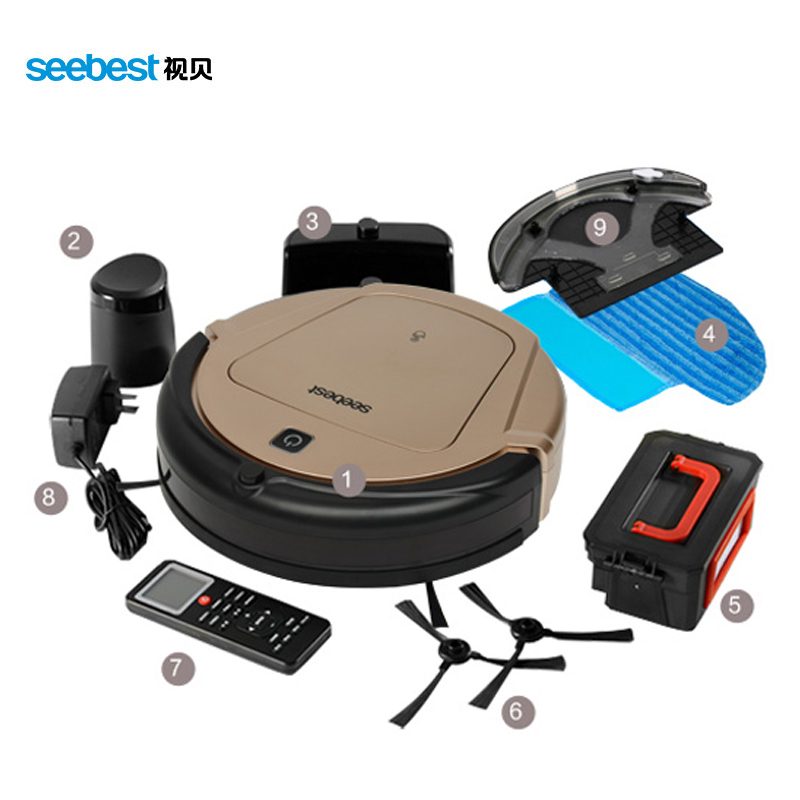 Seebest D750 TURING 1.0 GPS Navigator Planned Clean Route Robot Vacuum Cleaner with Water Tank Wet Mopping seebest d750 turing 1 0 dry and wet mop robot vacuum cleanerwith water tank and gps navigator planned clean route clean robot