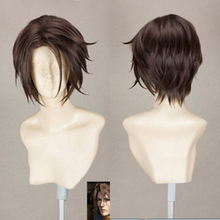 Final Fantasy FF8 Squall Leonhart Short Brown Heat Resistant Hair Cosplay Costume Wig + Free Wig Cap
