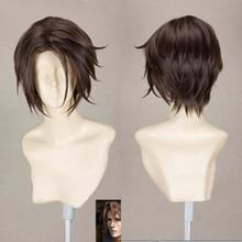 Final Fantasy perruque Leonhart FF8, perruque de Costume pour Cosplay, cheveux courts, bruns résistants à la chaleur, bonnet gratuit