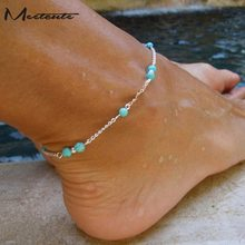 Meetcute Hand Made Green stone Beads Anklet Bracelet On The Led New Summer Chain For Woman Barefoot Sandals Bracelet Anklet(China)