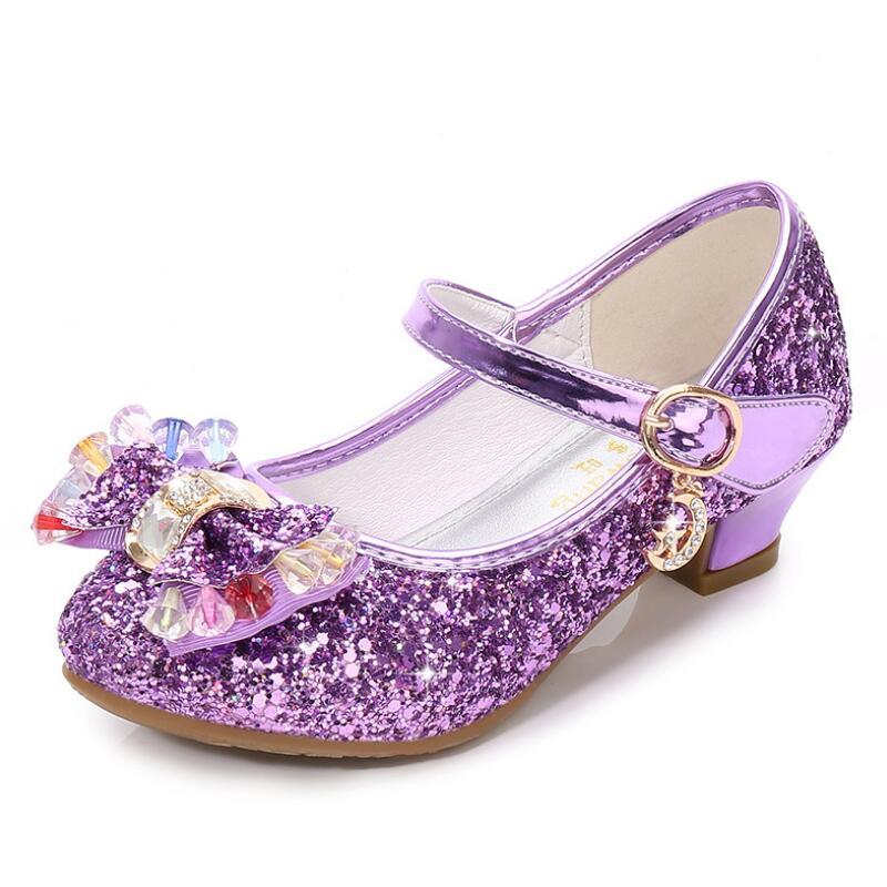 SKHEK Children Gold Flower Pearls Shoes Girls High Heel Sandals Kids Wedding Size 26-36 Colors Good Quality