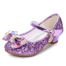 SKHEK Children Gold Flower Pearls Shoes Girls High Heel Sandals Kids Wedding Size 26-36 Colors Good Quality