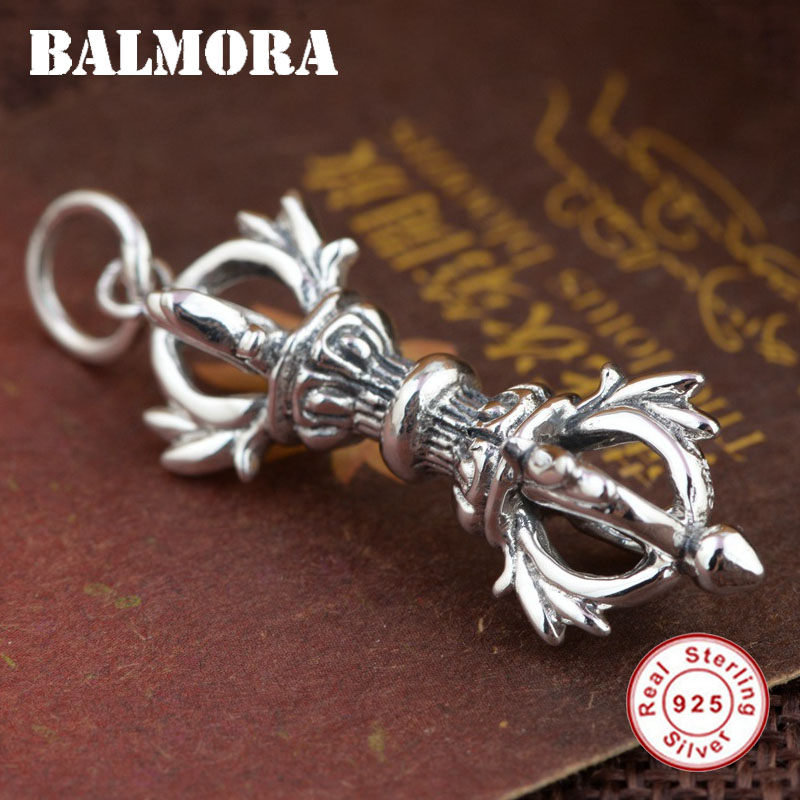 BALMORA 925 Sterling Silver Vintage Pendants for Women Men Buddhistic Vajra Pestle Thai Silver Jewelry Without a Chain SY13833 men without women