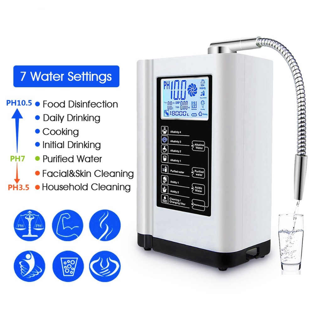 PH3.5-10.5 7 Water Settings 6000 Liters Water Ionizer&Purifier Touch Control Alkaline Acid Machine Auto-Cleaning Water Treatment 3 plate water ionizer alkaline water machine wth 803