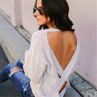 WKOUD 2018 Autumn Backless Sweaters O neck Long Sleeve Pullovers For Women Fall Casual Back Cross Knitted Pullover M8009