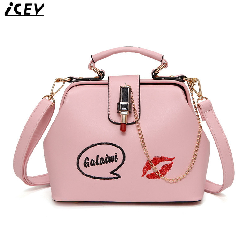 ICEV new fashion candy color women messenger bag embroidery lipstick shoulder bags for girls cross body leather designer clutch free shipping fashion pu women messenger bags candy color pure yellow color cross body bag shoulder bags
