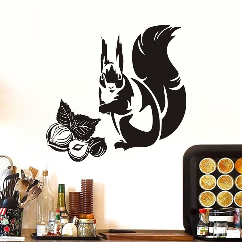 Cute Kitchen Wall Decor: Cute Squirrel Eating Nuts Wall Stickers Animals Kitchen