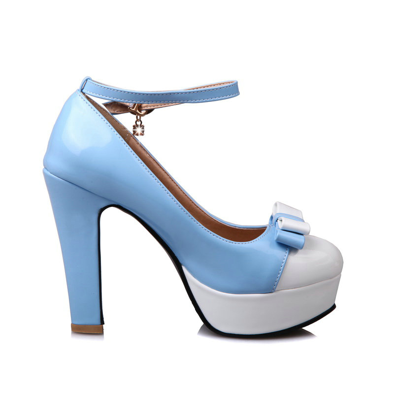 Noir Bleu Plate bleu rose Arc Sangle Doux Haute Mode Robe Épais Mélangées Couleurs Noir Chaussures Noeud forme Boucle Femmes De Rose Pompes Pour Avec BwqUYHq