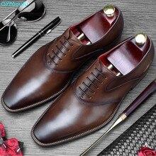 QYFCIOUFU 2019 Vintage Formal Dress Shoes Men Plaid Wedding Office Shoe Male Luxury Italian Brand Genuine Leather Oxford