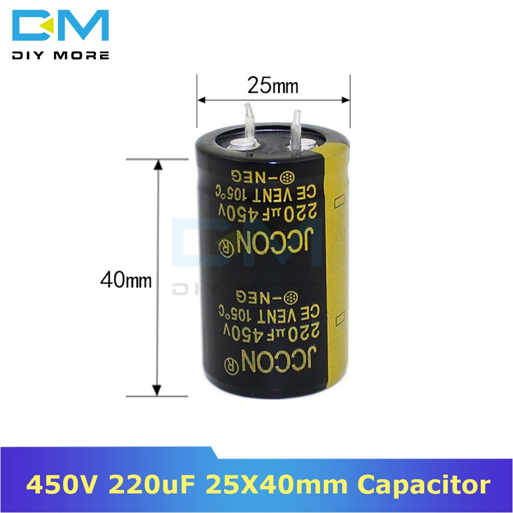 450V 220uF 25X40mm 25X40 Aluminum Electrolytic Capacitor High Frequency Low Impedance Through Hole Capacitor 25*40mm Diymore