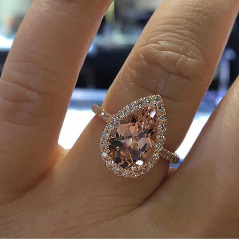 Zirconia-Ring Jewelry Champagne Crystal Engagement Rose-Gold-Color Cubic Elegant Fashion