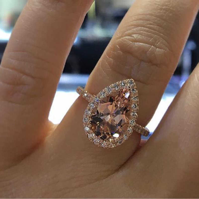 Female Fashion Elegant Cubic Zirconia Ring Rose Gold Color Champagne Crystal Engagement Wedding Ring for Women Jewelry