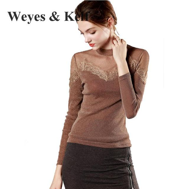 75a058fb Weyes & Kelf Spring Bright Silk Tulle Long Sleeve Shirt Women 2018 Autumn  Long Sleeve Lace