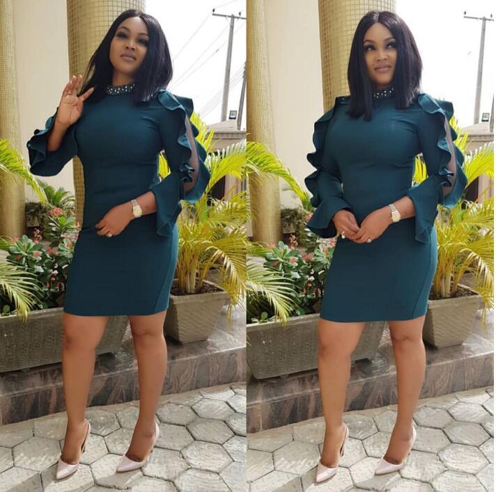 2018 Élégante Africain Longues À 13 Sirène rose Lady Pour Tenue Yc Vêtements Femmes Robe Manches Afrique Robes Vert Pprtp