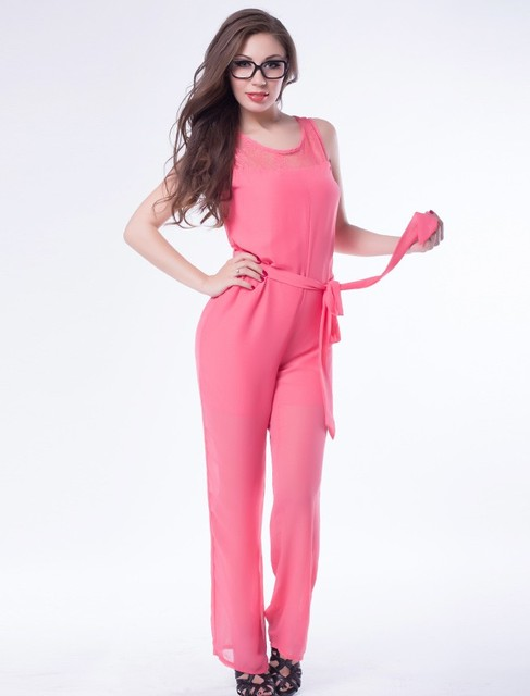 RP70024 New style elegant overalls O-neck pink black beige ladies casual summer romper 2016casual style long loose lace jumpsuit