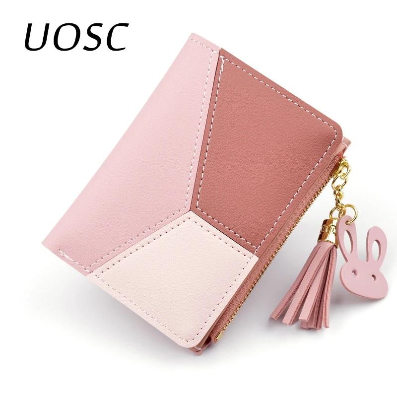 Женский короткий кошелек UOSC, розовый кошелек с геометрическим узором, с отделением для карт, в стиле пэчворк