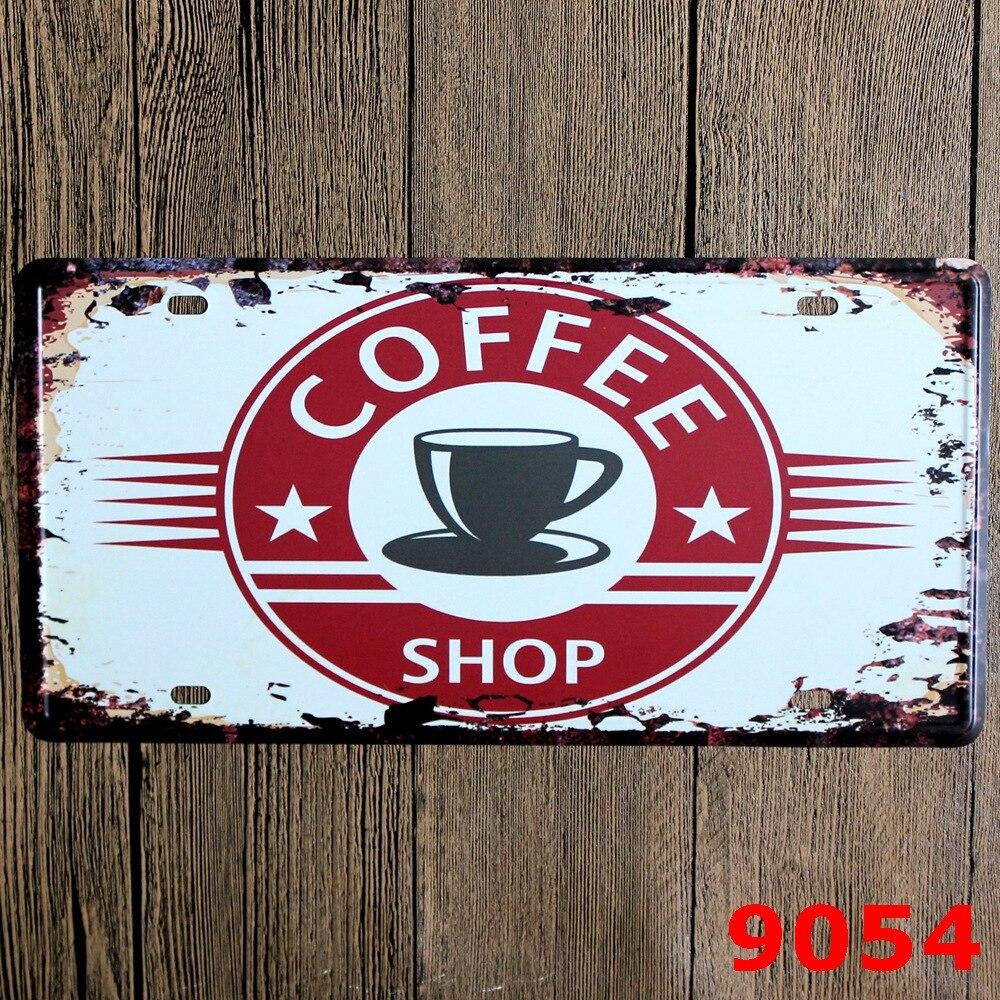 COFFEE SHOP New design Metal Craft Wall Decor Retro Bar House Tin Painting 15*30 CM Mix Items RM1928