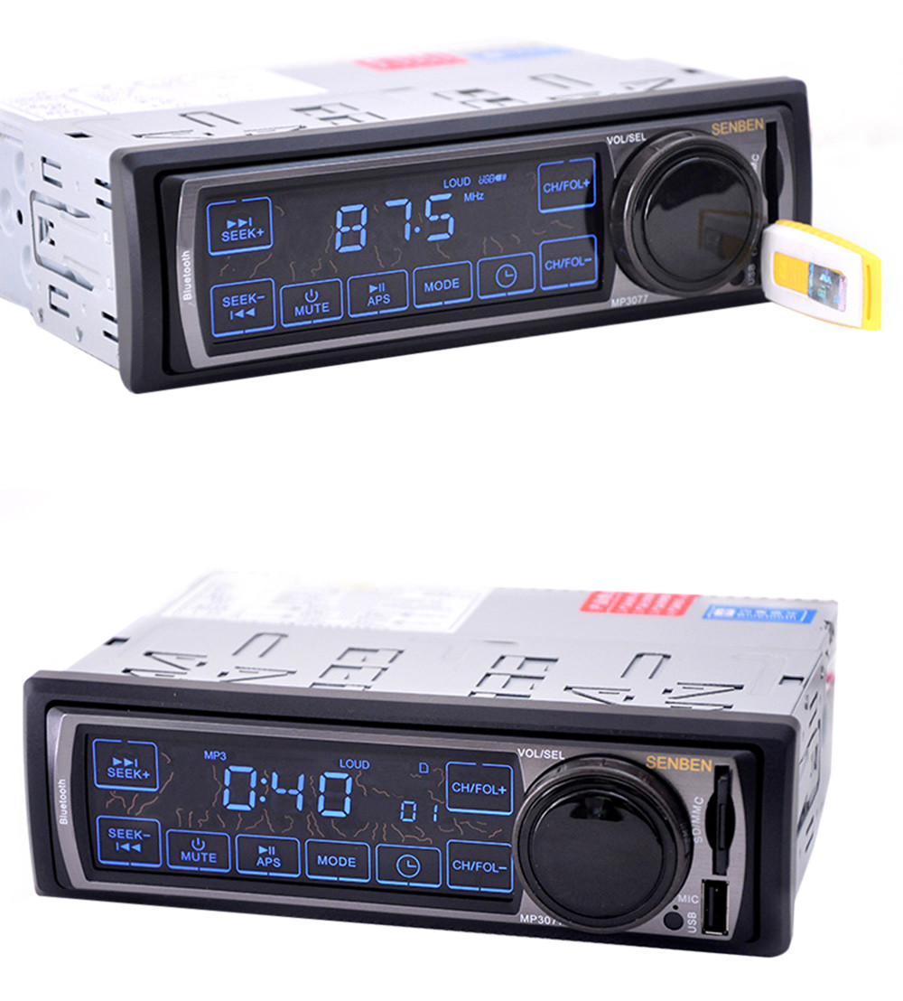 1 Din Car Radio 12V Auto Audio Stereo Bluetooth V2.0 Touch Screen Support FM USB SD MP3 Player AUX Microphone Handsfree Calls