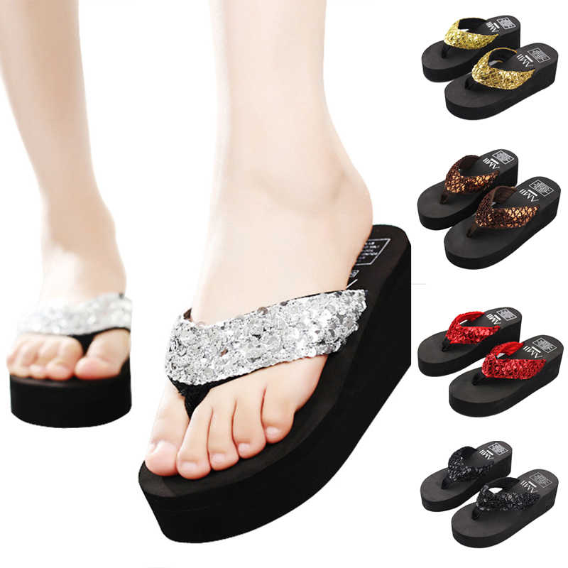 ff550a926e88 SHUJIN Women s flip-flops with thick-soled sequins slippers outdoor beach  femal shoes slippery