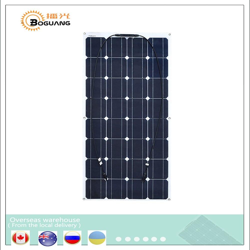 Boguang Flexible Mono PV 16 V 100 W Panel Solar placa células monocristalino silicio fotovoltaicos 100 vatios 12 V batería china
