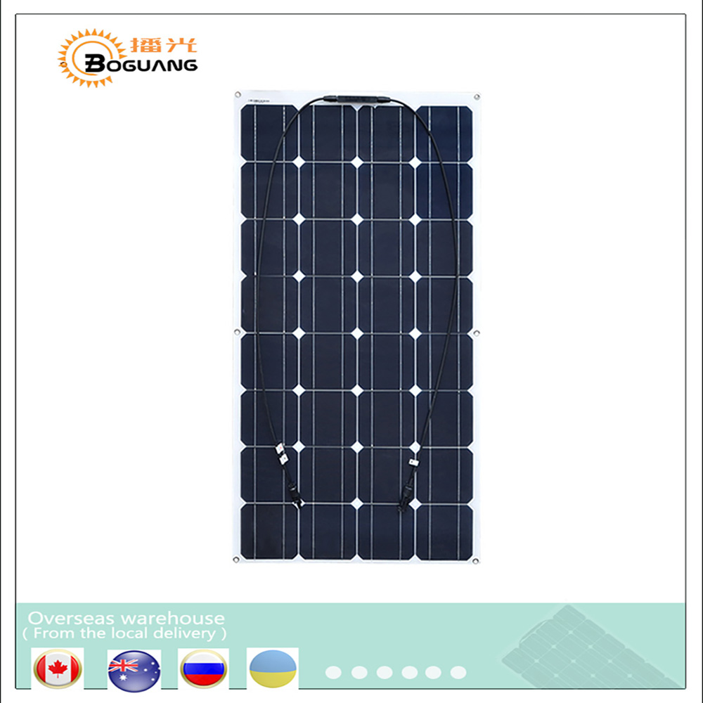 Boguang portable Solar Panel Flexible 16V 100W plate CELLS Monocrystalline silicon Photovoltaic Panels PV 12V 100 watt china