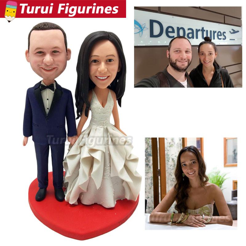 Main dans la main couple figurines personnalisé robe de mariée costume bobblehead poupées figurines sculptures mini statuette à la main