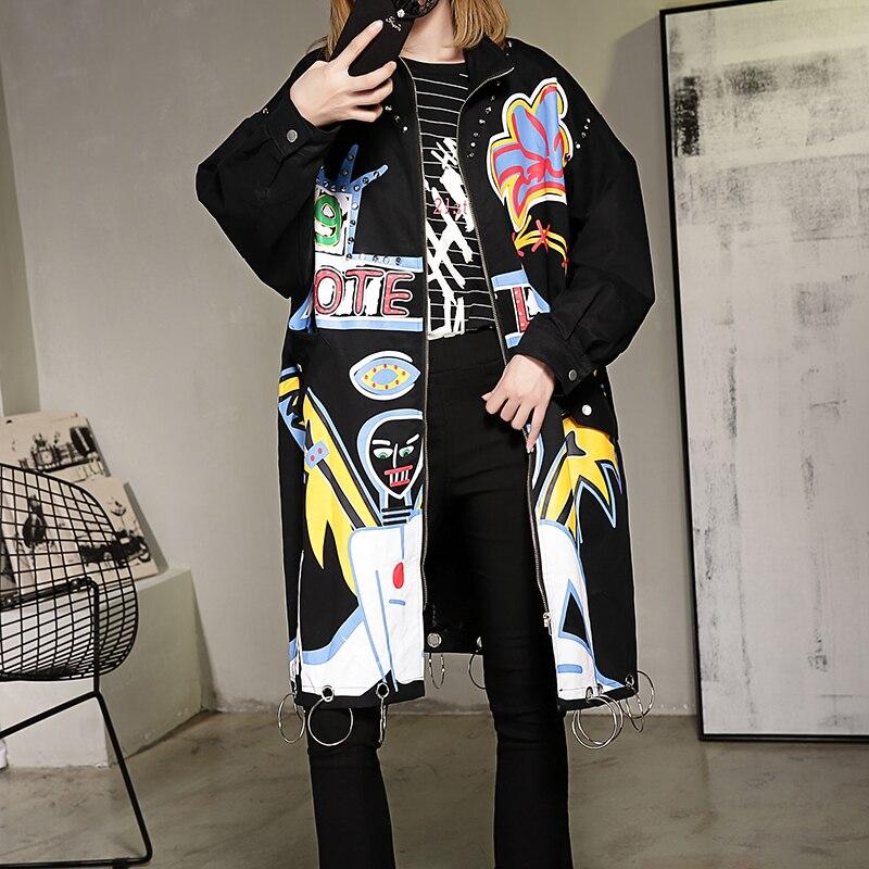 Impresión de Primavera femenina capa Larga de la chaqueta outwear traje espectác