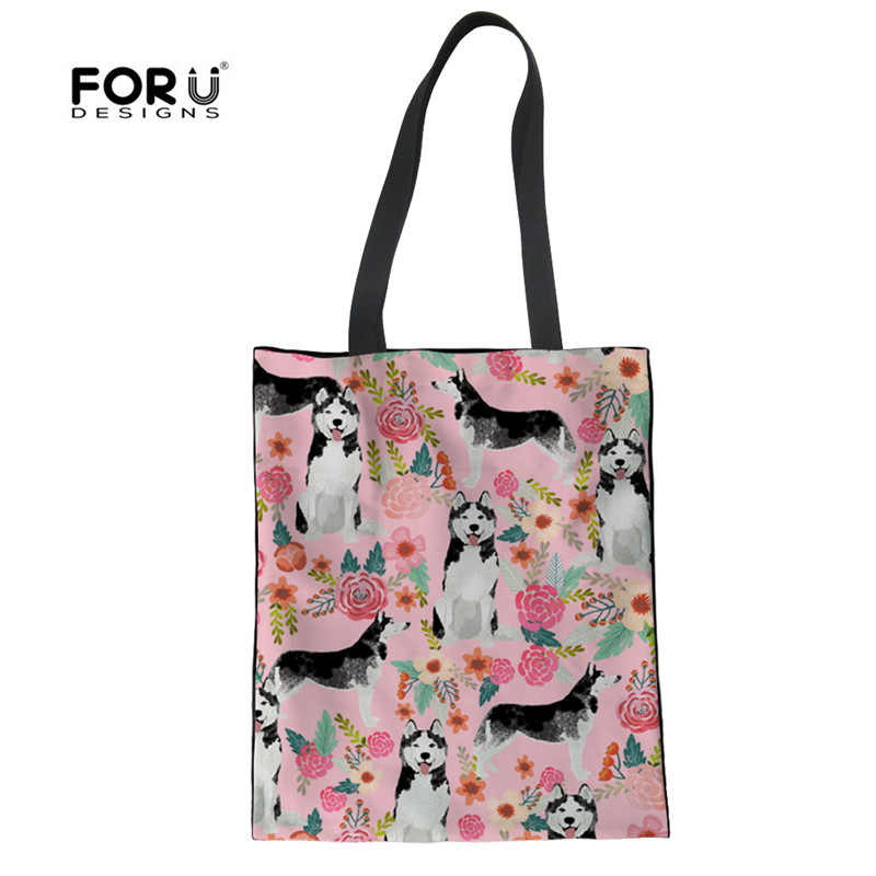 FORUDESIGNS Husky Flower Linen Eco Cloth Bag For Lady Durable Luxury Girl Magazine Handbags Designer Women Canvas Shopping Bags ...