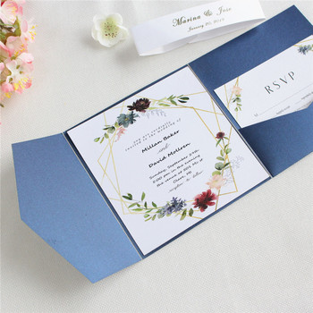 Blue wedding cards invitation marriage with envelop RSVP belly band customized printing 50pcs 1