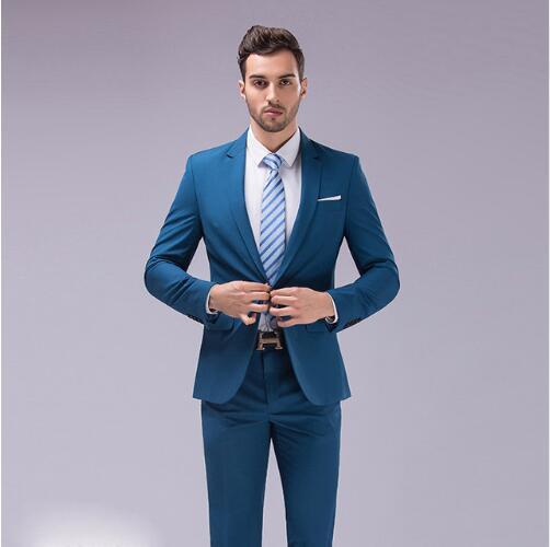 Custom Slim Fit Blue Men Suit 3Pcs Notched Lapel Blazer Mens Wedding Prom Suits Best Man Groom Tuxedo Formal Jacket Pants Vest