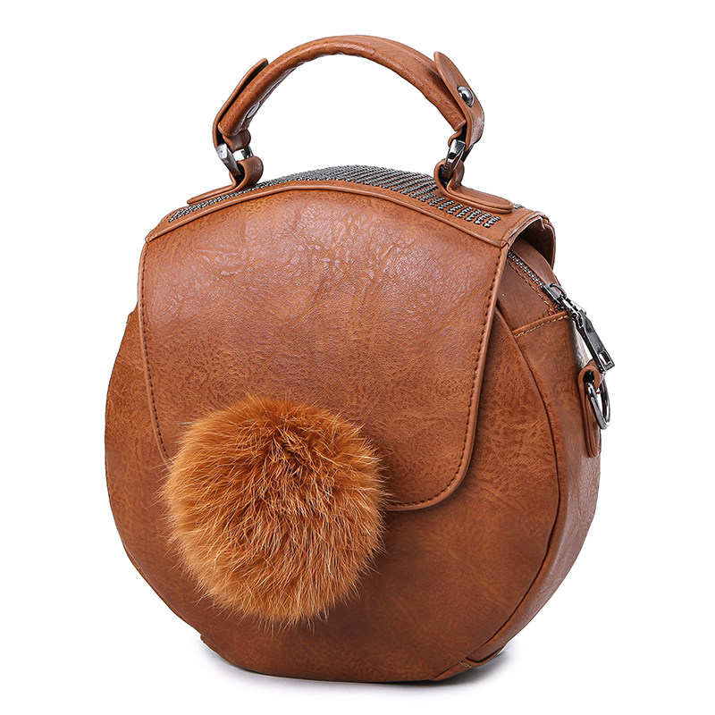 New Retro Small Circular Bag Cute Fur Ball Women Cheap Fashion Hand Bag Vintage Rivet Shoulder