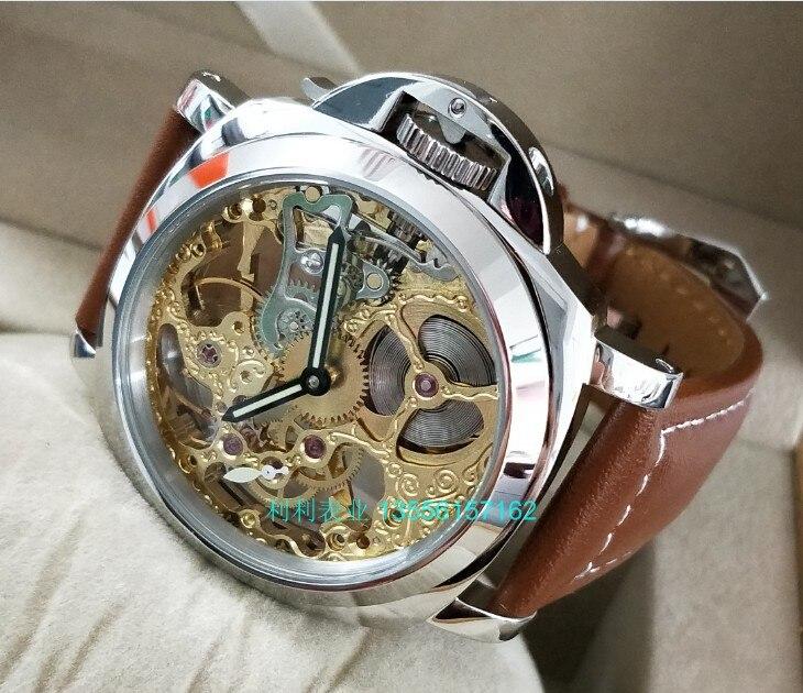 Saatler'ten Mekanik Saatler'de 44mm GEERVO Asya altın 17 jewels Mekanik El Rüzgar hareketi erkek saati delikli mekanik saatler 0159A title=
