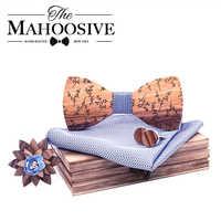 Fashion Men Wooden bow tie set Handkerchief Cufflinks wood bowtie wedding brooch tie Wooden Ties Gravata set wedding gift
