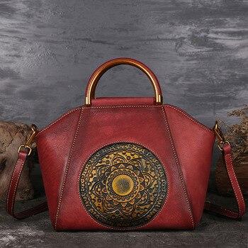 Osmond Women Genuine Leather Handbags  Vintage Totem Designer Shoulder Bag Luxury Brand Bags Messenger Top Totes Bolsa Feminina